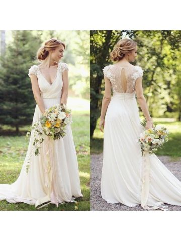 Stunning Deep V-neck Cap Sleeves Chiffon Sweep Train Vintage Wedding Dresses