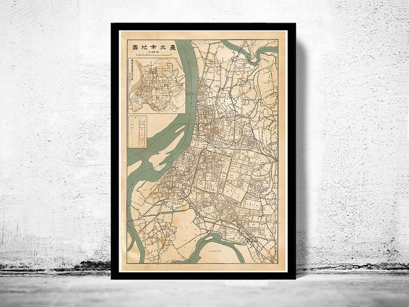 Old map of taipei taiwan 1932 product image old city maps vintage maps old map of taipei taiwan 1932 product image sciox Gallery
