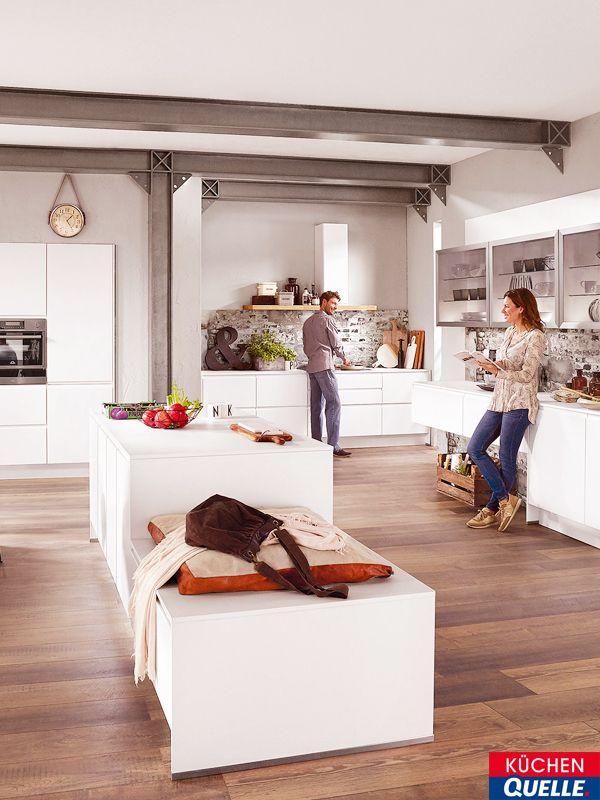 Eine Tolle, Moderne Wohnküche Ist Die Norina 5526 Alpinweiß Lack Grifflos.  Dort Fühlen Sich