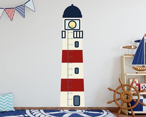 Wandtattoo Messlatte Leuchtturm Masse 170 X 40 Cm Selbstklebende Farbintensive Folie Halt Auf Raufase Nursery Wall Decor Ingrain Wallpaper Nursery Decor