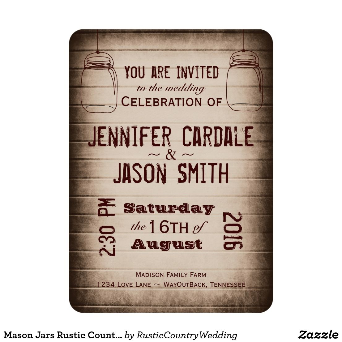 Mason Jars Rustic Country Wood Wedding Invitations | Wedding barns ...