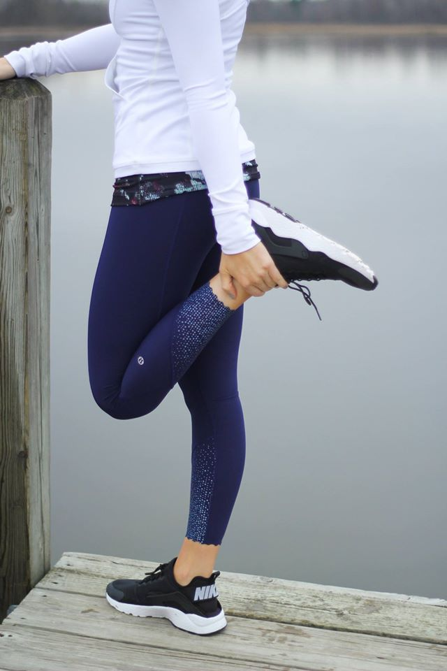 68ce552f5b lululemon Static Blossom Cool Racerback, Hero Blue Tight Stuff Tights, and  White Define Pullover.