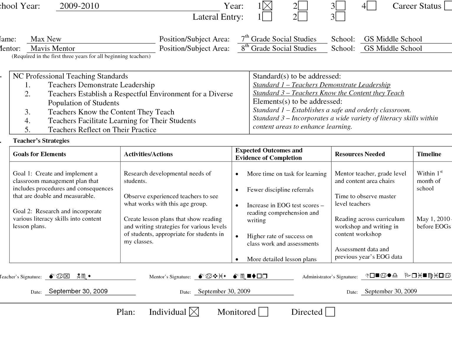 Professional Development Plan Sample For Teachers Fresh Professional Learning Plan Examp Professional Development Plan Teaching Standards Professional Learning Sample of professional development plan