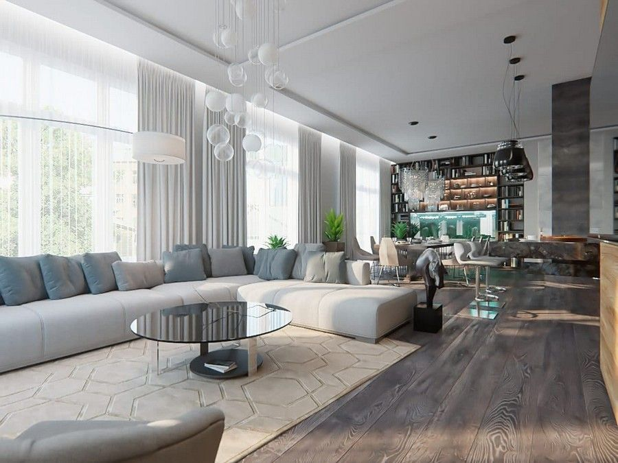 Open Concept Living Room F32x On Modern Home Design Style