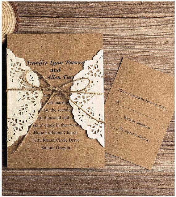 Cheap Rustic Wedding Invitation Kits: Rustic Lace Paper Wedding Invitation Kit