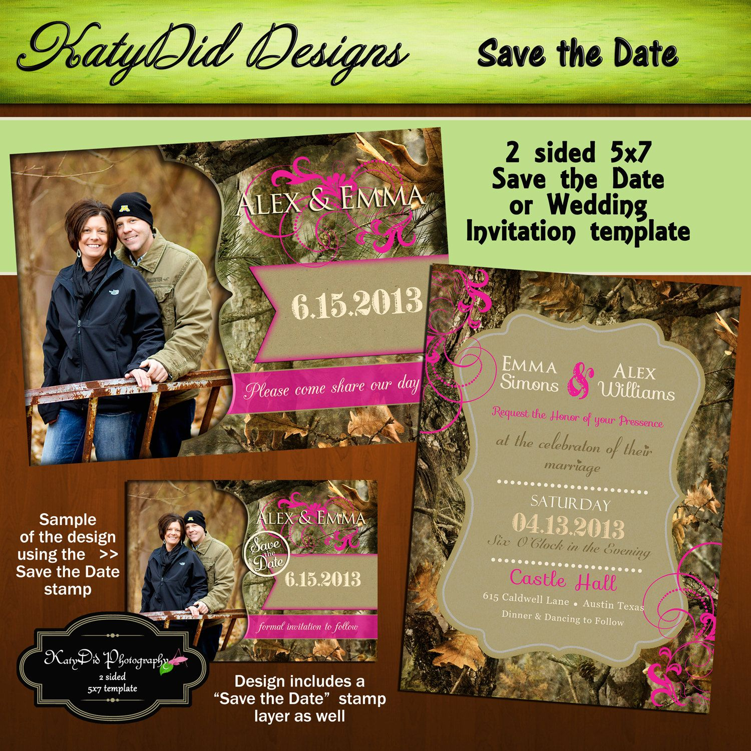 INSTANT DOWNLOAD Mossy Oak Camouflage 5x7 Wedding Invitation Save ...