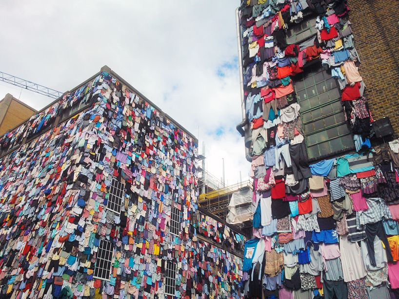 Clothes Covered Building Marks Spencer Shwopping Campaign Second Hand Clothes Marks And Spencer Building