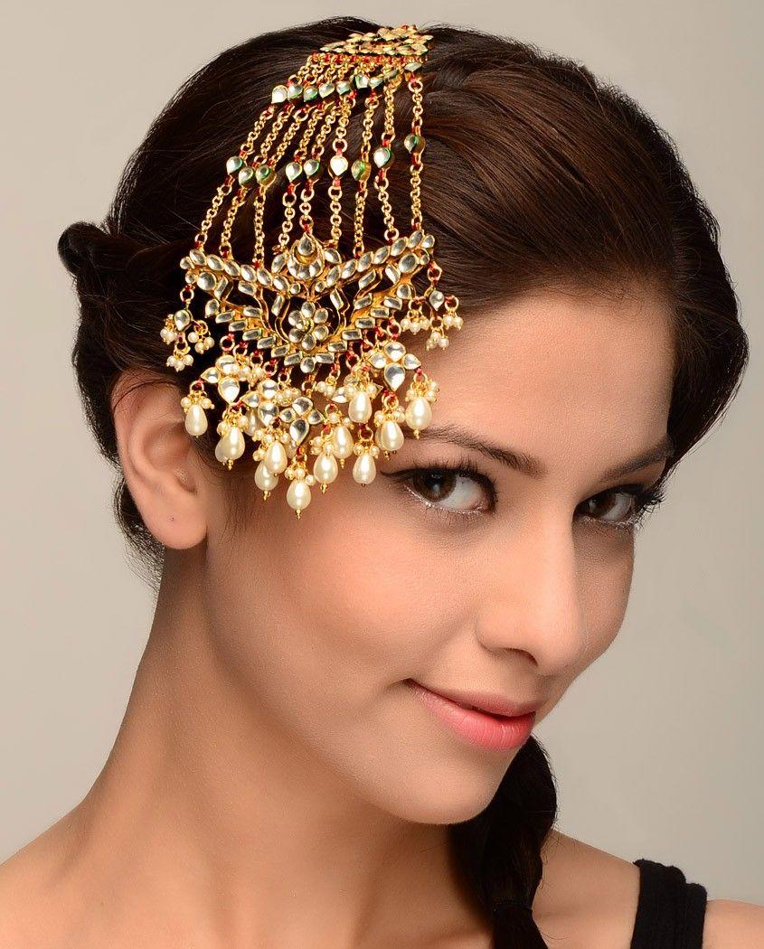 Traditional Bollywood Bridal Maang Tikka Jhoomar  Passa Women  Forehead Jewelry