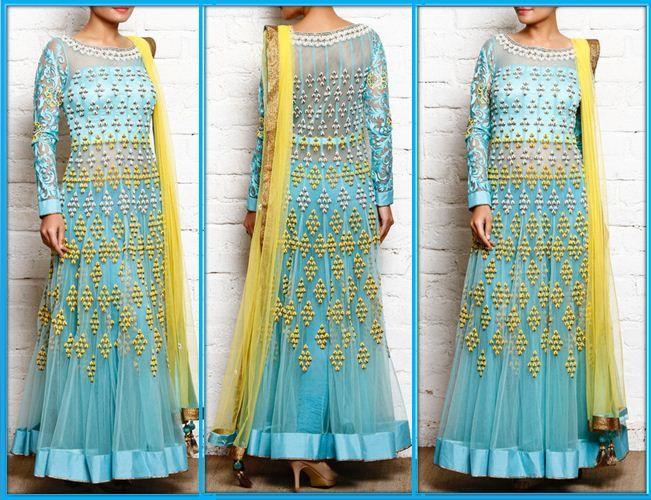Aqua Blue #Bead #Embroidered #Net #Anarkali #Suits