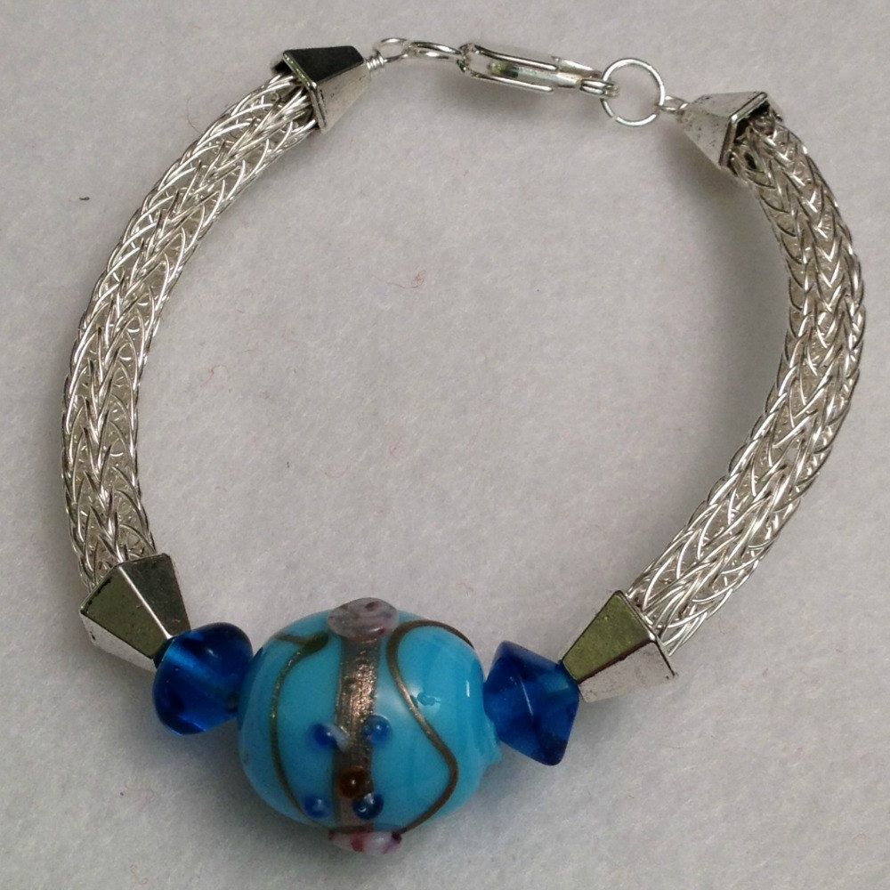 Ladies silver viking knit with blue India glass beads, $26 ...