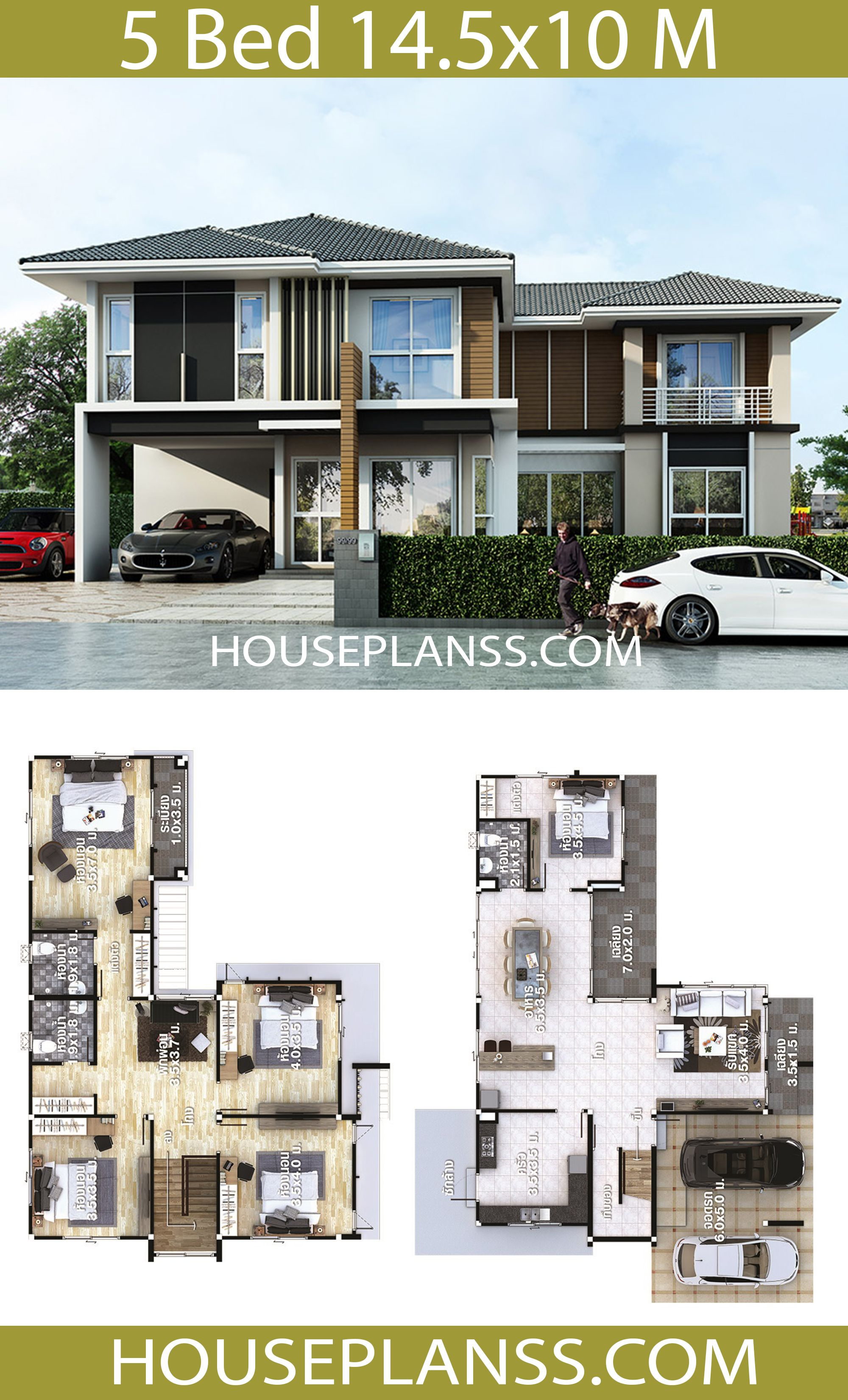 House Plans Idea 14 5x10 With 5 Bedrooms House Plans 3d In 2020 House Outside Design House Plan Gallery Bungalow House Design