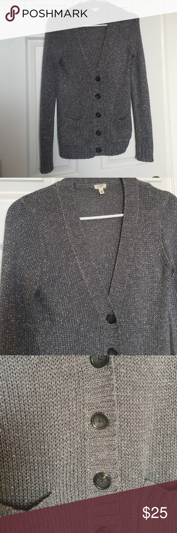 J. Crew metallic cardigan sweater This sweater is in excellent condition! 2 front pockets. Longer length. Cable knit. 82% rayon 18% metallic. Smoke free pet free home. J. Crew Sweaters Cardigans