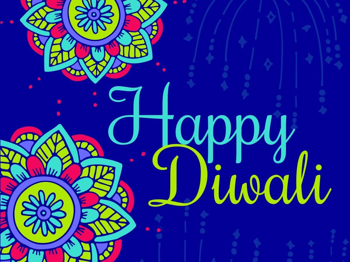 Beautiful Multicolor Flowers On An Editable Diwali Card Template For