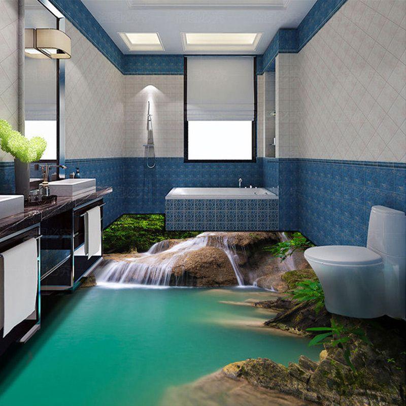 Custom Photo Floor Wallpaper Modern 3D Nature Waterfall Bathroom Floor Mural PVC Self Adhesive Floor Wallpaper  (800×800)