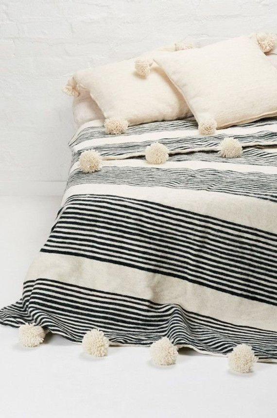 Moroccan Wool Pompom Blanket Pom Poms Boho Blanket Bed Cover With Ivory White Pompom Moroccan Blankets Moroccan Throw Blanket Moroccan Pom Pom Blanket