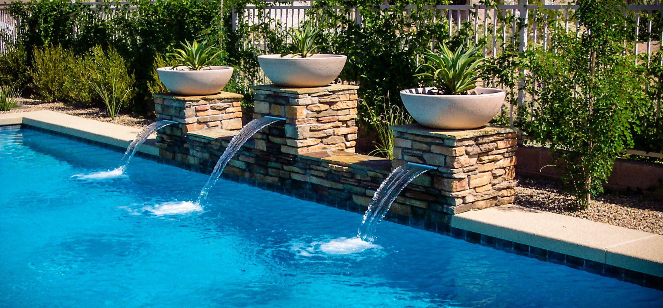 Sheer Descents Wok Pots Stacked Stone Pillars Phoenix Az Our Pools Pool Builders Pool