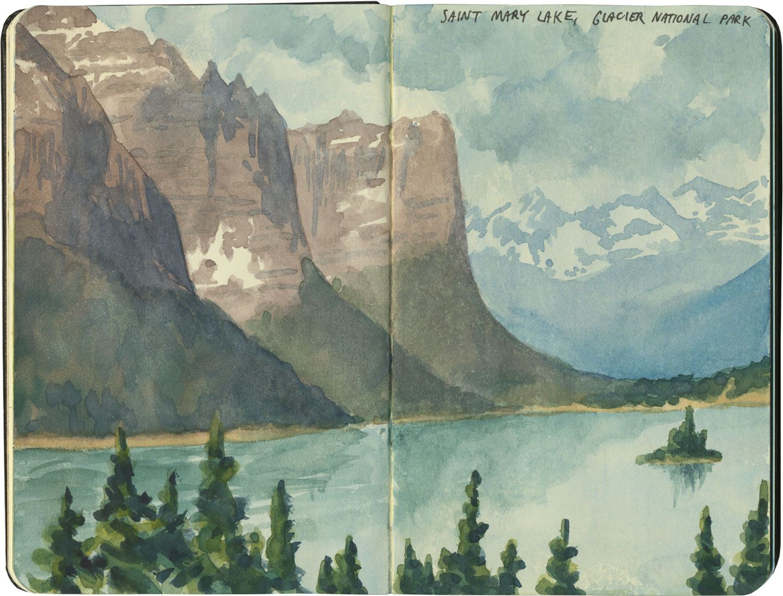 Glacier National Park Watercolor Print By Gary Spetz Montana