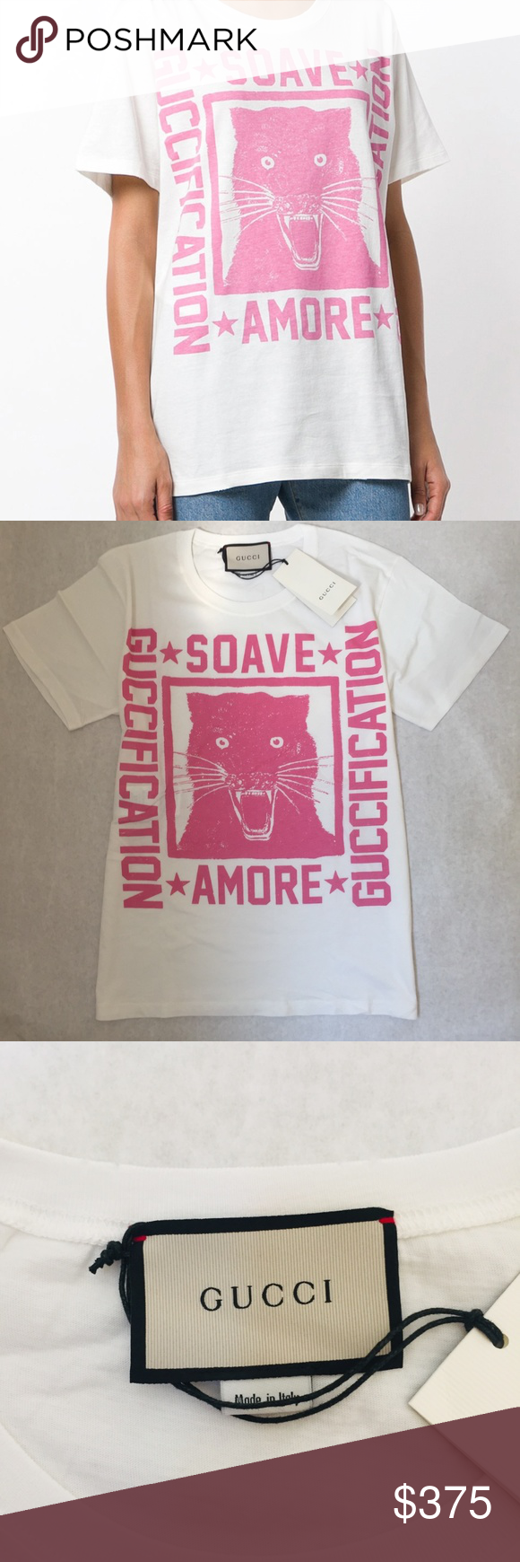 """GUCCI """"Soave Amore Guccification"""" print T-shirt XS This white oversized crew neck cotton tee from Gucci sports a contrast pink print. The print says """"Soave Amore,"""" which translates to """"a delicate love,"""" words from the first-century BC Latin poem """"De Rerum Natura"""" or """"On the Nature of Things"""" - by Roman poet and philosopher Lucretius, which explains Epicurean philosophy.  Designer Style ID: 492347X3L32 Colour: 9208 IVORY/PRINCESS ROSE  There is a little mark on the wash tag that was made to preve"""