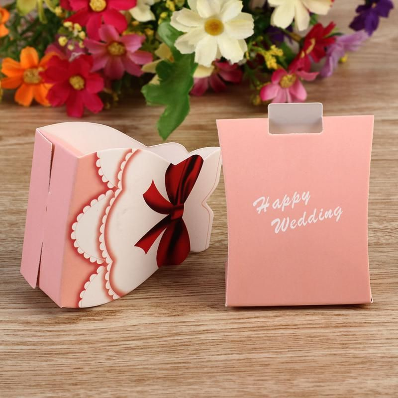 Fashion Pink Bride Groom Tuxedo Dress Gown Wedding Favors Candy Gift Box 50pcs