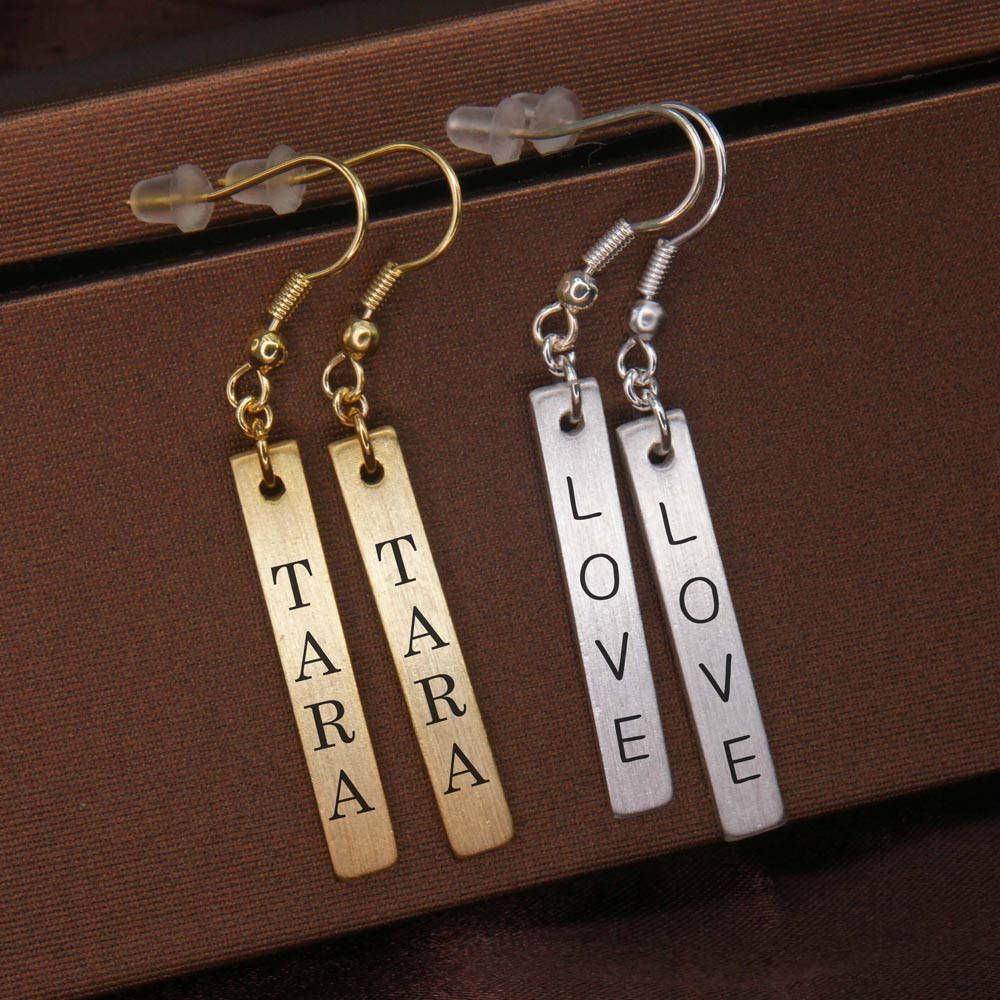 Personalized Earrings Long Customized Dangle Geometric Br Monogram Be167