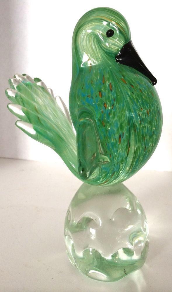 Vintage Murano Italian Art Glass Hand Blown Bird Sculpture Gold Flecks Bird Sculpture Murano Glass Animals Glass Art