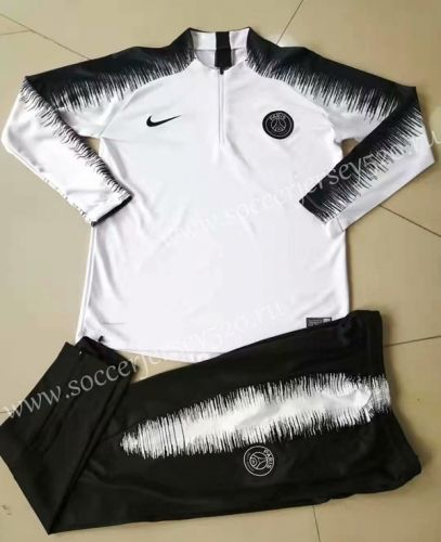 21fb92f09 2019-20 Paris SG White Printed Sleeve Thailand Soccer Tracksuit Uniform-815