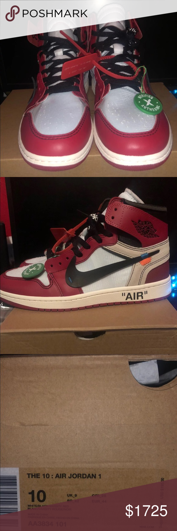 167a4d5b1566 Off White Chicago Air Jordan 1 stockx verified authentic off white chicago  jordan 1 Jordan Shoes Athletic Shoes