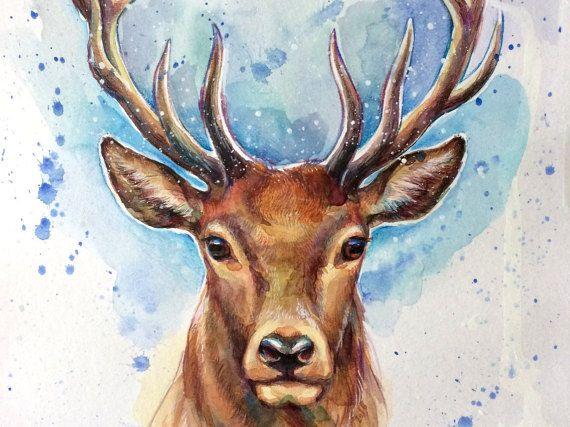 Hirsch Original Aquarell Bild Illustration Deerstag Von Narteck