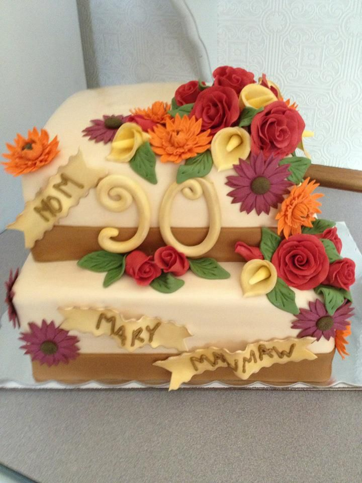 90 Yr Old Birthday Cake 90th Decorations Cakes Happy