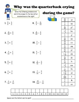 Printables of Adding And Subtracting Fractions Riddle