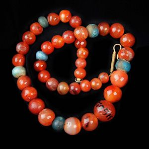 Egyptian Carnelian and Faience Bead Necklace, 18th Dynasty