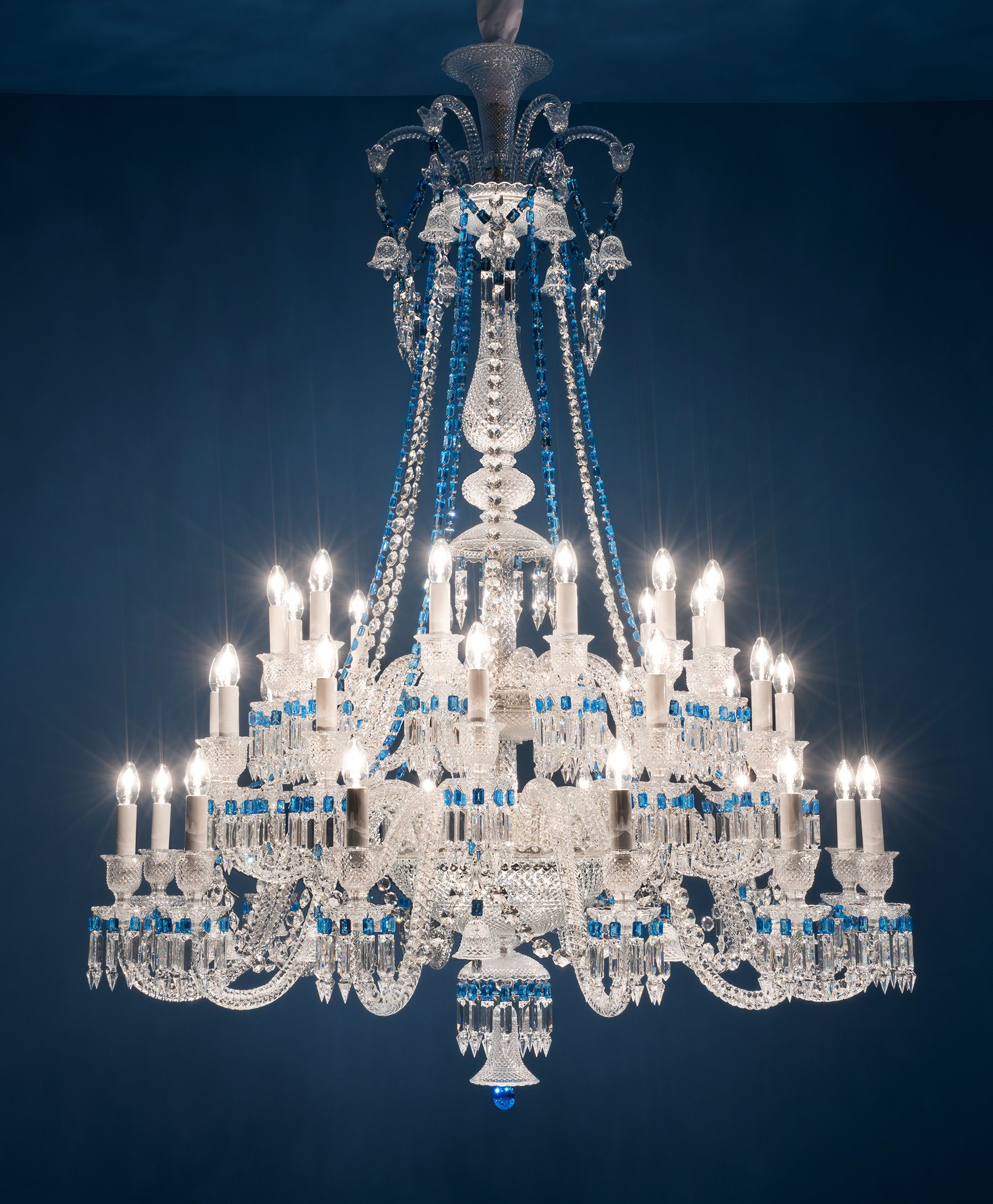 Crystal Chandelier Chandeliers Lighting with Blue Crystal