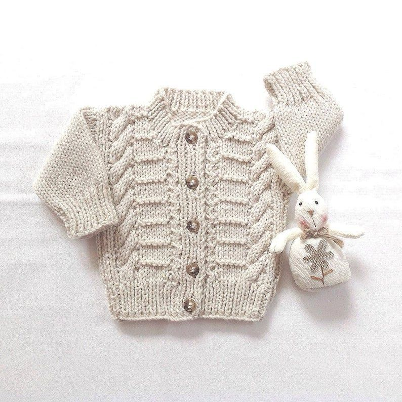 Aran Baby Cardigan - 6 bis 12 Monate - Baby Handstrick ...