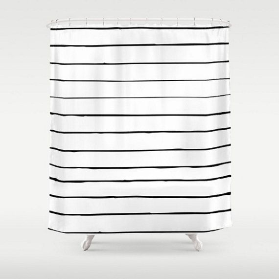 Shower Curtain Black White Skinny Stripes Lines By LoveThatTooMuch