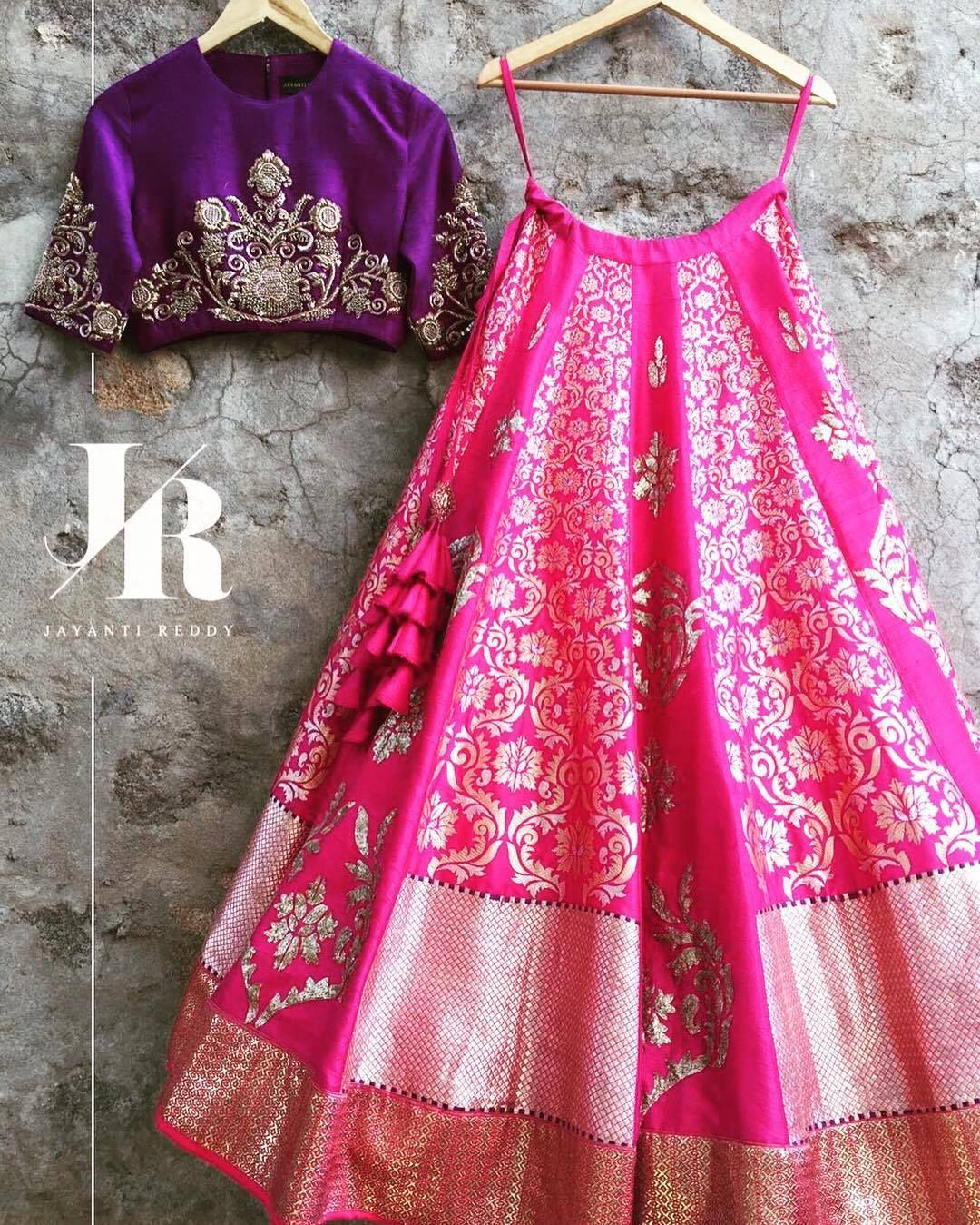 Crushing on this Pink and Purple Lehenga Set from the Benares ...