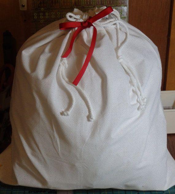 White on White Fabric Drawstring Gift Bag 17 x 16 by BaysideBarb
