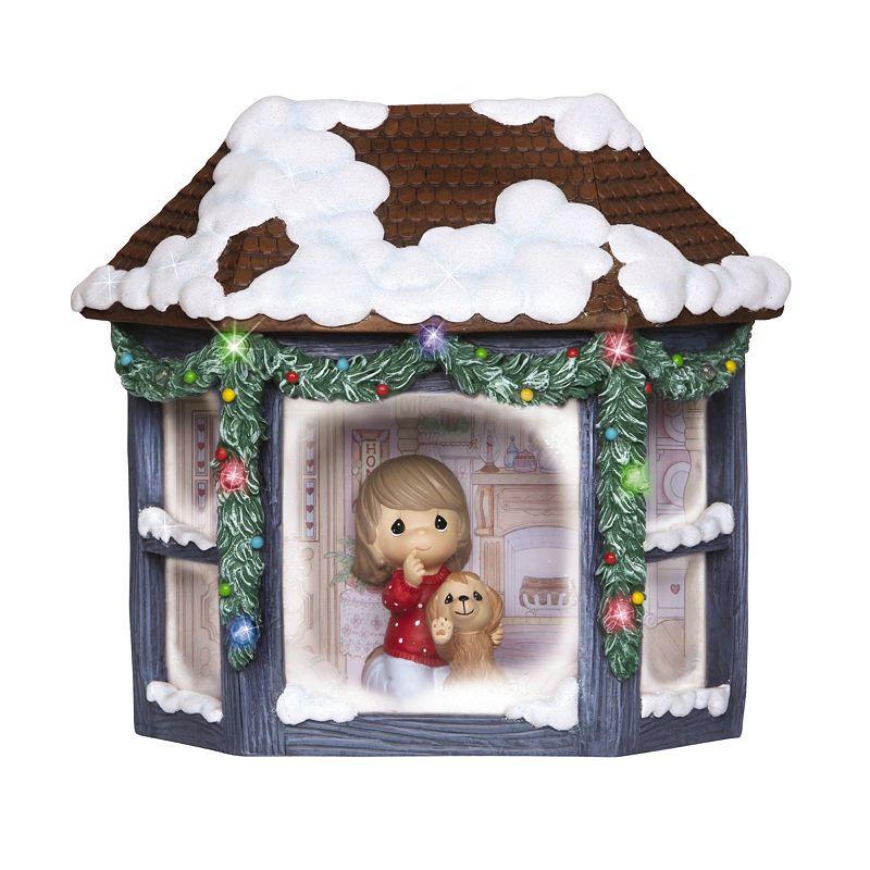 Precious Moments Girl And Puppy Watching Snowfall Resin Music Box