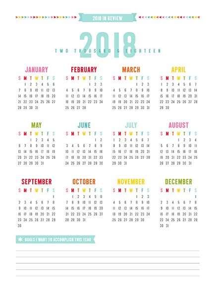 2018 full year calendar
