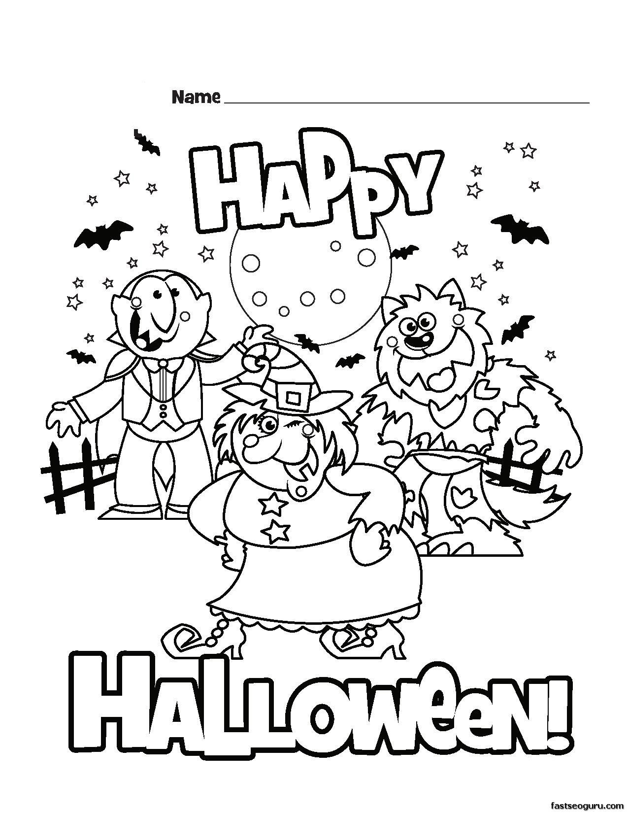 Coloring Halloween Happy Pages Printable Check
