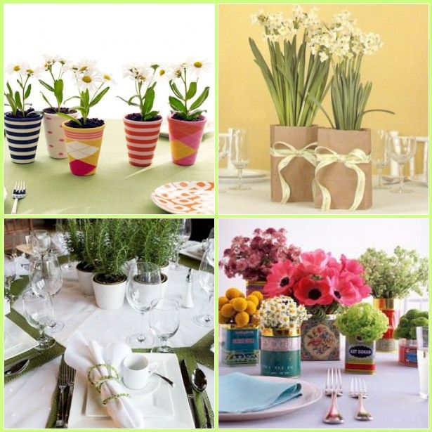 Cheap Home Wedding Ideas: Live Potted Plants As Centerpieces? : Paper Bag With Bow