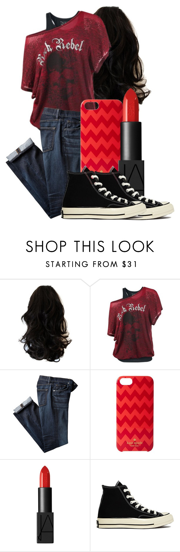 """Untitled #391"" by artlove1997 ❤ liked on Polyvore featuring Kate Spade, NARS Cosmetics and Converse"