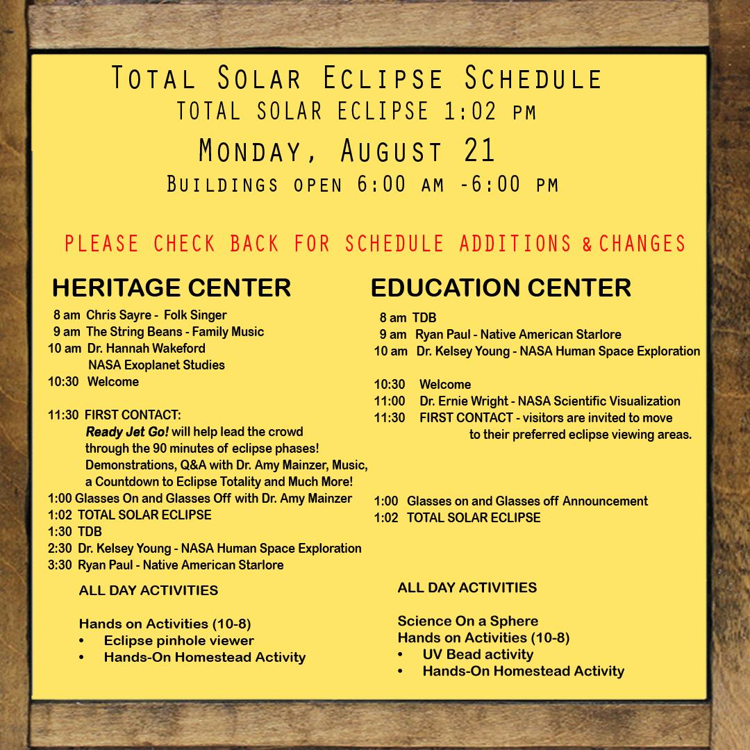 August 21st Event Schedule