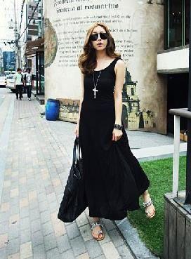 Glamorous Loose Leisure Backless Round Neckline Black Dress