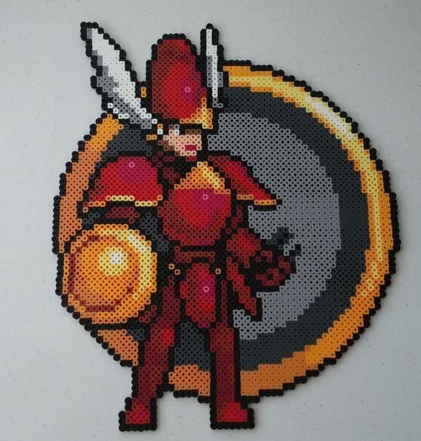 16 Bit Shield Knight Perler Bead by kamikazekeeg