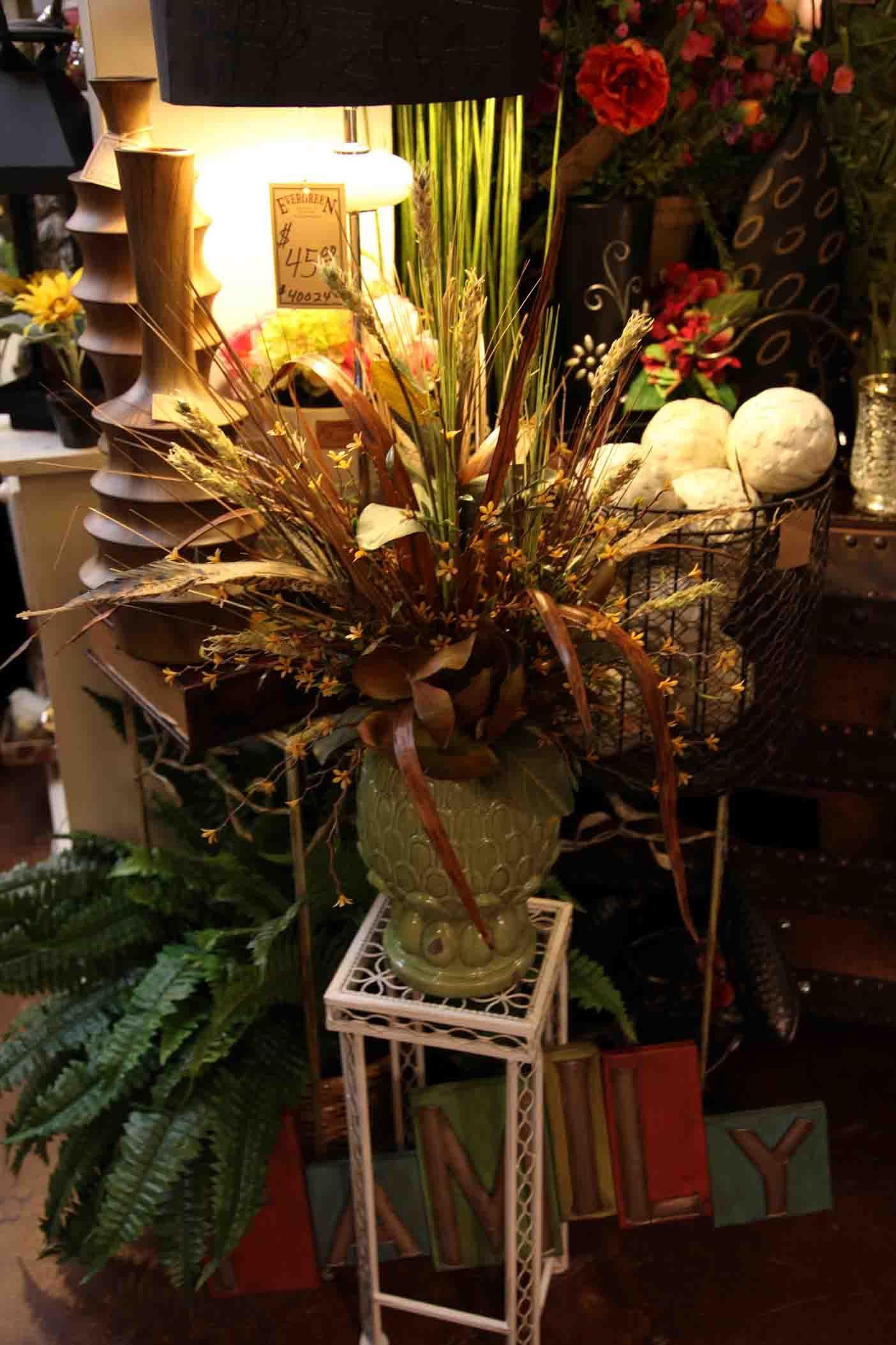 silk floral arrangement in green pineapple www