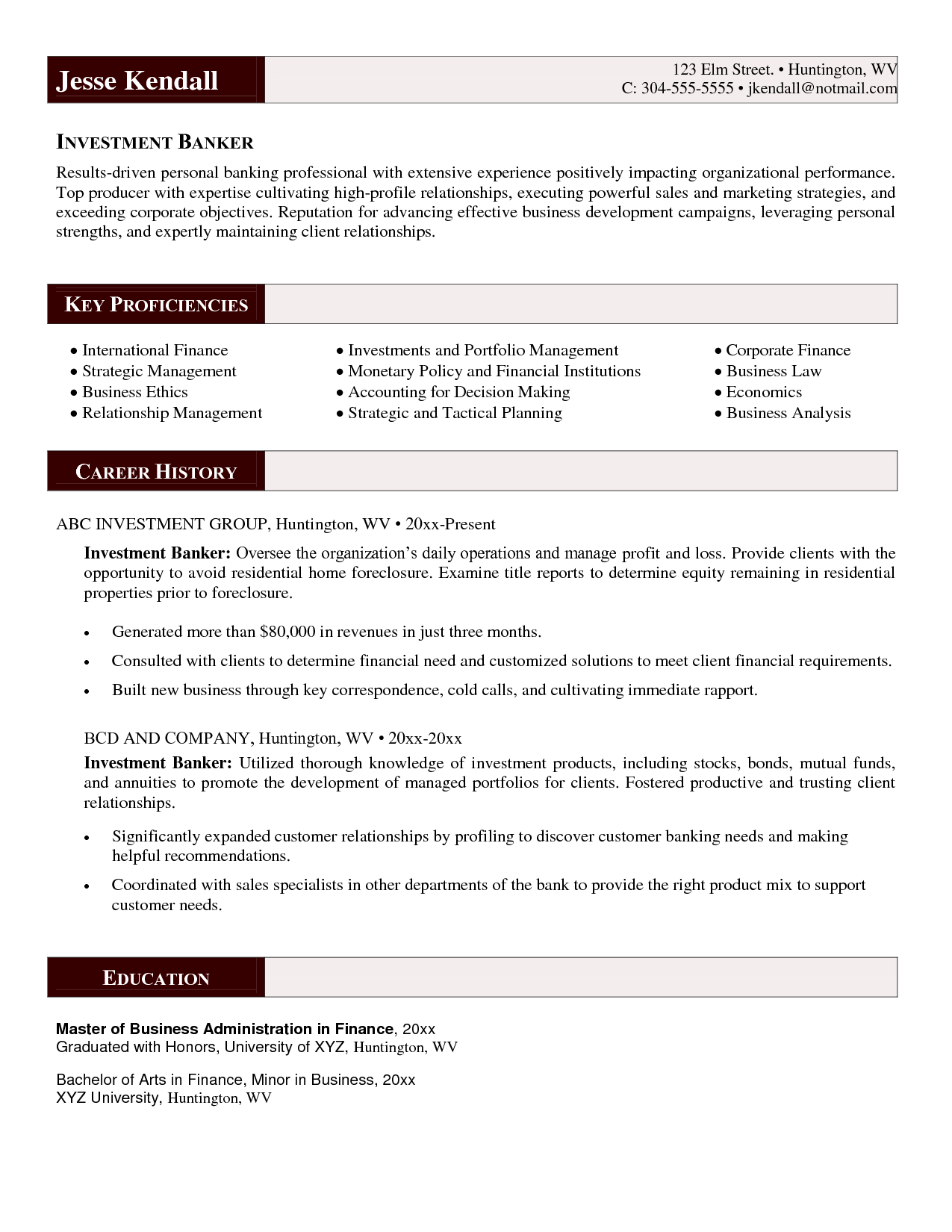 Investment Banker Resume Sample Httpresumecareerfo
