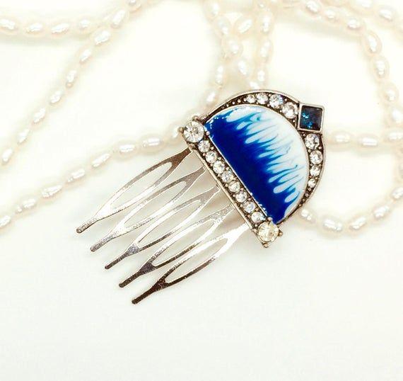 Blue Bridal Hair Comb Silver Hair Clip Wedding Headpiece Moon