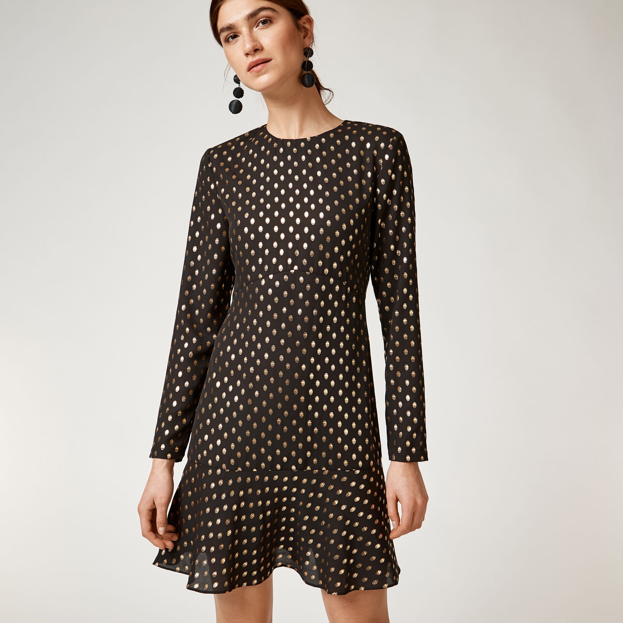 4d675b85811b Metallic spot ruffle hem dress