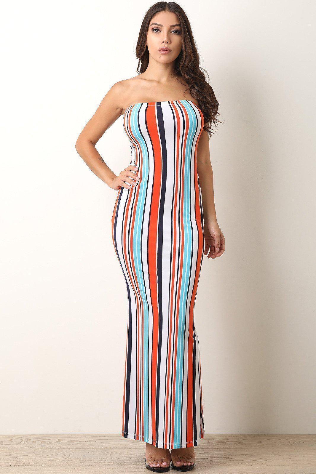 Vertical Striped Tube Maxi Dress Tube Maxi Dresses Maxi Dress Occasion Maxi Dresses [ 1600 x 1066 Pixel ]