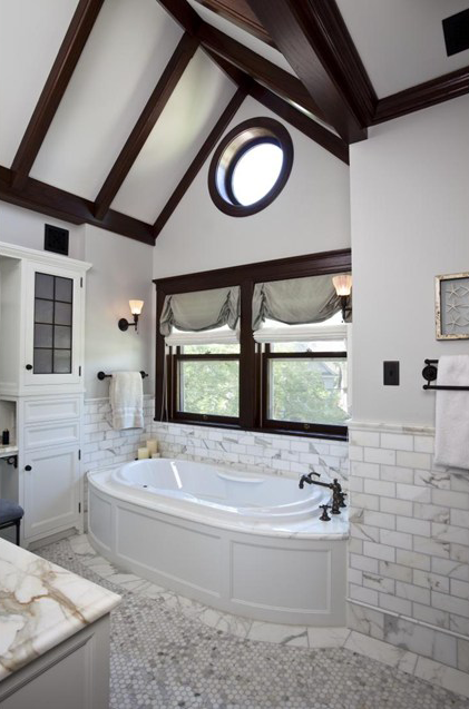 Top 50 of the best American bathroom designs! This project successfully blends creative design, expert craftsmanship and impeccable products, like this Thermal 55 Oval @BainUltra #bathtub. For more information about the tub: http://www.bainultra.com/therapeutic-baths/our-collections/thermal